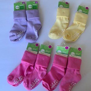 8 Toddler Socks With Grippers Pink, Yellow, Purple